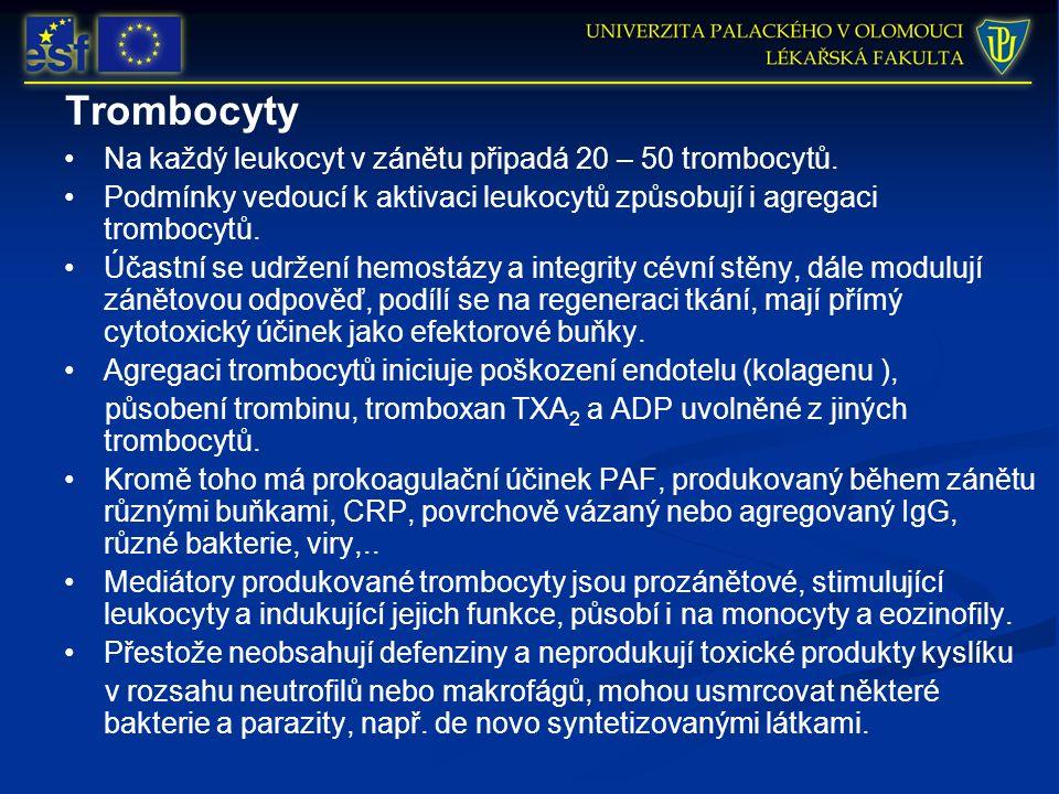 Trombocyty Na každý leukocyt v zánětu připadá 20 – 50 trombocytů. Podmínky vedoucí k aktivaci leukocytů způsobují i agregaci trombocytů. Účastní se ud