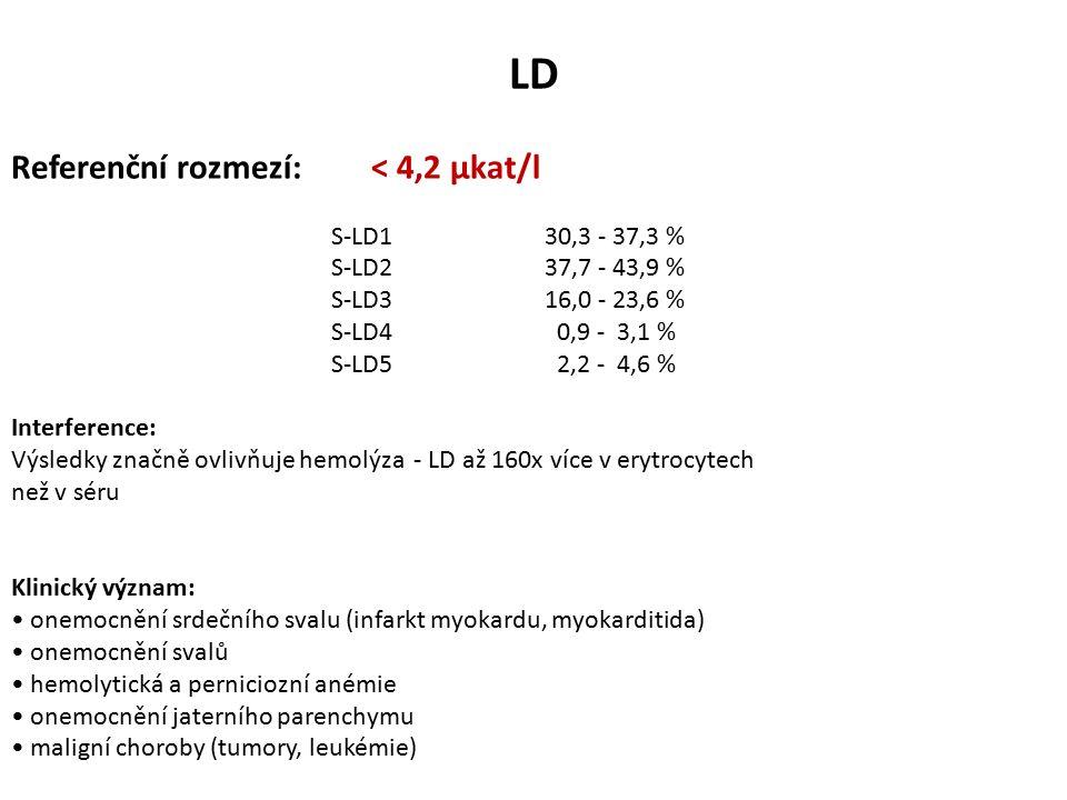 LD Referenční rozmezí: < 4,2 µkat/l S-LD130,3 - 37,3 % S-LD237,7 - 43,9 % S-LD316,0 - 23,6 % S-LD4 0,9 - 3,1 % S-LD5 2,2 - 4,6 % Interference: Výsledky značně ovlivňuje hemolýza - LD až 160x více v erytrocytech než v séru Klinický význam: onemocnění srdečního svalu (infarkt myokardu, myokarditida) onemocnění svalů hemolytická a perniciozní anémie onemocnění jaterního parenchymu maligní choroby (tumory, leukémie)
