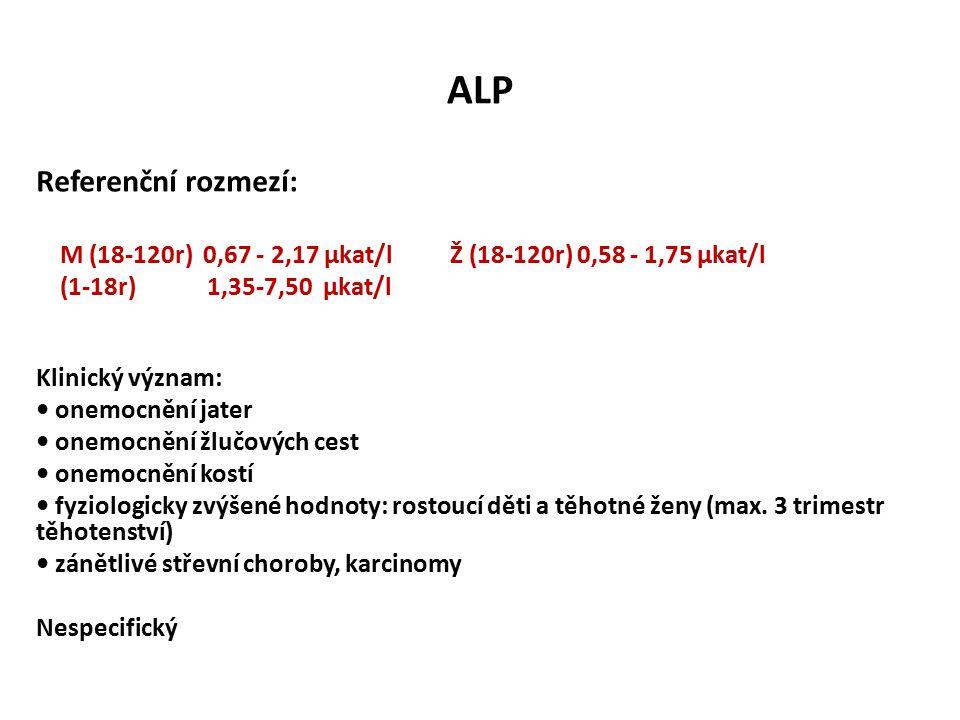 ALP Referenční rozmezí: M (18-120r) 0,67 - 2,17 µkat/l Ž (18-120r) 0,58 - 1,75 µkat/l (1-18r) 1,35-7,50 µkat/l Klinický význam: onemocnění jater onemocnění žlučových cest onemocnění kostí fyziologicky zvýšené hodnoty: rostoucí děti a těhotné ženy (max.
