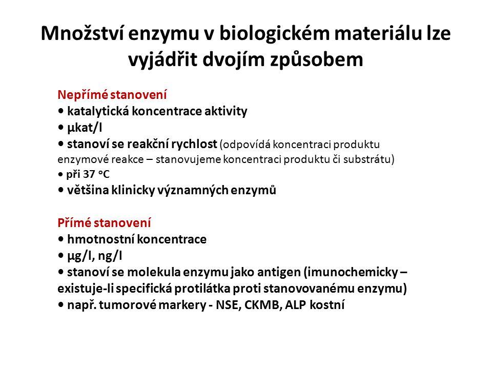 Množství enzymu v biologickém materiálu lze vyjádřit dvojím způsobem Nepřímé stanovení katalytická koncentrace aktivity μkat/l stanoví se reakční rychlost (odpovídá koncentraci produktu enzymové reakce – stanovujeme koncentraci produktu či substrátu) při 37 o C většina klinicky významných enzymů Přímé stanovení hmotnostní koncentrace μg/l, ng/l stanoví se molekula enzymu jako antigen (imunochemicky – existuje-li specifická protilátka proti stanovovanému enzymu) např.