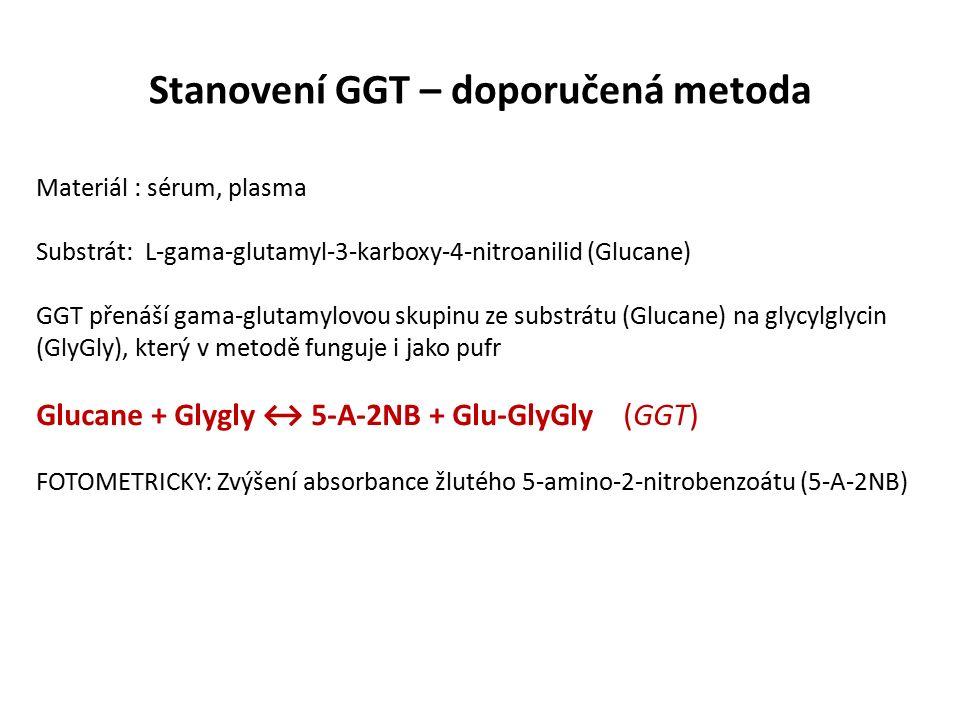 Stanovení GGT – doporučená metoda Materiál : sérum, plasma Substrát: L-gama-glutamyl-3-karboxy-4-nitroanilid (Glucane) GGT přenáší gama-glutamylovou skupinu ze substrátu (Glucane) na glycylglycin (GlyGly), který v metodě funguje i jako pufr Glucane + Glygly ↔ 5-A-2NB + Glu-GlyGly (GGT) FOTOMETRICKY: Zvýšení absorbance žlutého 5-amino-2-nitrobenzoátu (5-A-2NB)