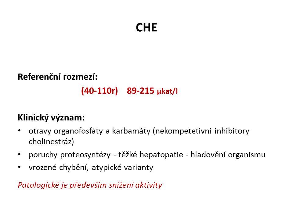 CHE Referenční rozmezí: (40-110r) 89-215 µkat/l Klinický význam: otravy organofosfáty a karbamáty (nekompetetivní inhibitory cholinestráz) poruchy proteosyntézy - těžké hepatopatie - hladovění organismu vrozené chybění, atypické varianty Patologické je především snížení aktivity