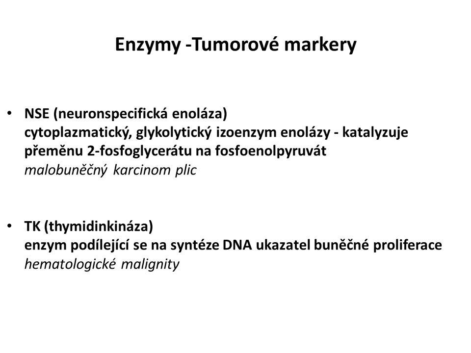 Enzymy -Tumorové markery NSE (neuronspecifická enoláza) cytoplazmatický, glykolytický izoenzym enolázy - katalyzuje přeměnu 2-fosfoglycerátu na fosfoenolpyruvát malobuněčný karcinom plic TK (thymidinkináza) enzym podílející se na syntéze DNA ukazatel buněčné proliferace hematologické malignity
