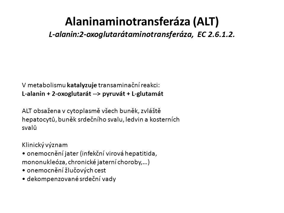 ALT Referenční rozmezí: M 0,20 - 0,80 µkat/l Ž 0,20 - 0,60 µkat/l Interference: Výsledky ovlivňuje silná hemolýza - ALT 7x více v erytrocytech než v plasmě