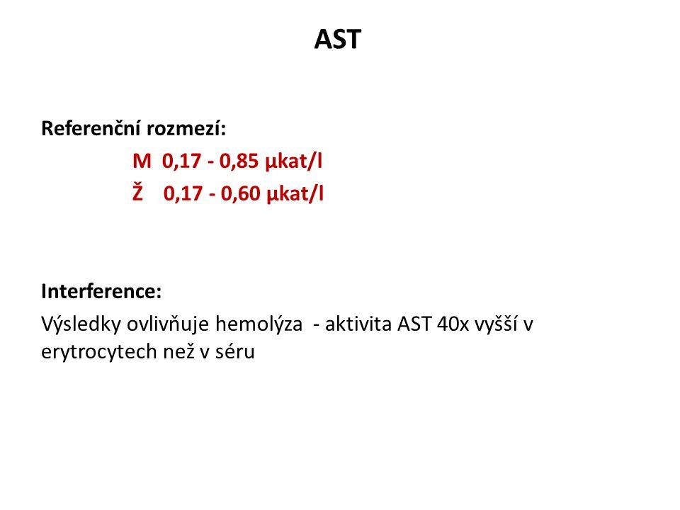 Stanovení AST – doporučená metoda Materiál : sérum, plasma Do reakční směsi se přidává pyridoxal-5-fosfát (PDP) jako koenzym (aktivuje Apo-AST --> AST*) PDP obsažen v séru, ale patologicky ho může být nedostatek L-aspartát + 2-oxoglutarát oxalacetát + L-glutamát (AST) oxalacetát + NADH + H + L-malát + NAD + (MDH) FOTOMETRICKY - pokles absorbance NADH při 340 nm předinkubace při +37 o C - při ní dojde k odstranění pyruvátu ze vzorku (Ve vzorku enzym laktátdehydrogenáza - dochází k reakci, při které je pyruvát odstraňován, ale současně dochází k úbytku NADH - falešně vyšší rychlost úbytku NADH) start : 2-oxoglutarát ( 2 činidlová metoda)
