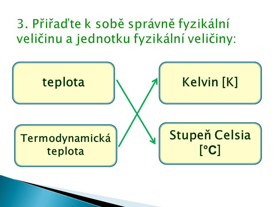 teplota Termodynamická teplota Kelvin [K] Stupeň Celsia [ °C ]