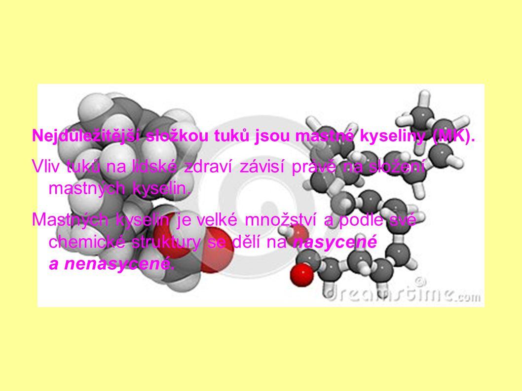 Nejdůležitější složkou tuků jsou mastné kyseliny (MK).