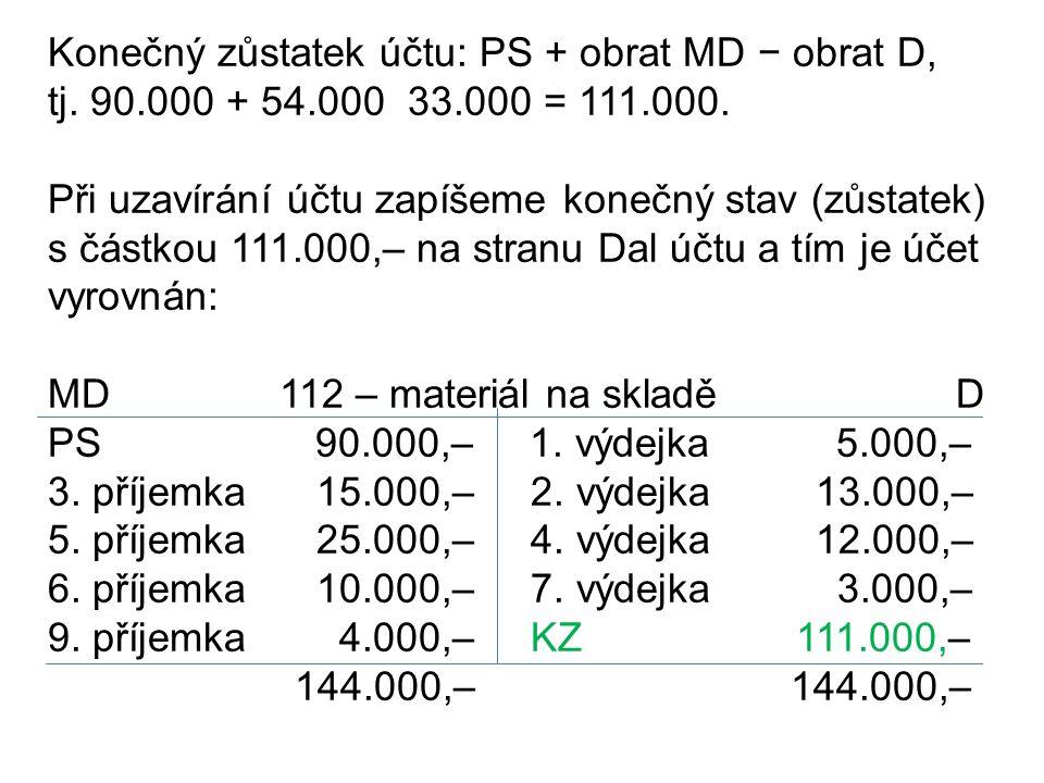 Konečný zůstatek účtu: PS + obrat MD − obrat D, tj.