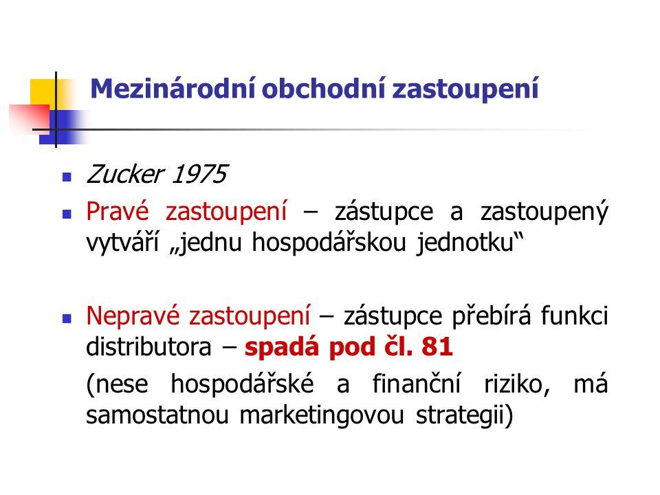 """Mezinárodní obchodní zastoupení Zucker 1975 Pravé zastoupení – zástupce a zastoupený vytváří """"jednu hospodářskou jednotku Nepravé zastoupení – zástupce přebírá funkci distributora – spadá pod čl."""