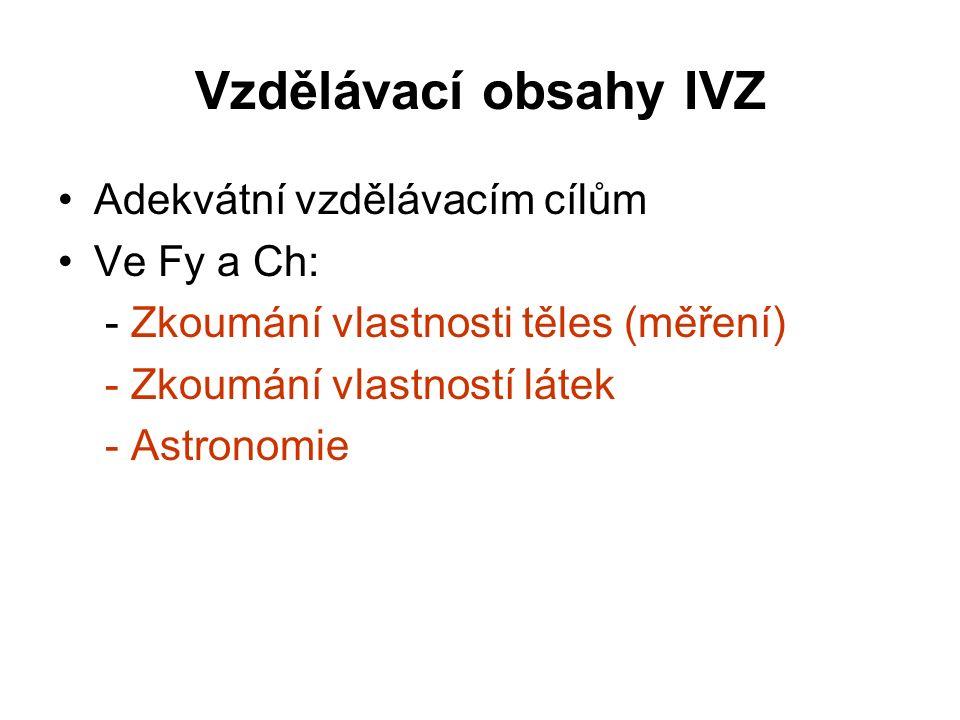 Vzdělávací obsahy IVZ Adekvátní vzdělávacím cílům Ve Fy a Ch: - Zkoumání vlastnosti těles (měření) - Zkoumání vlastností látek - Astronomie
