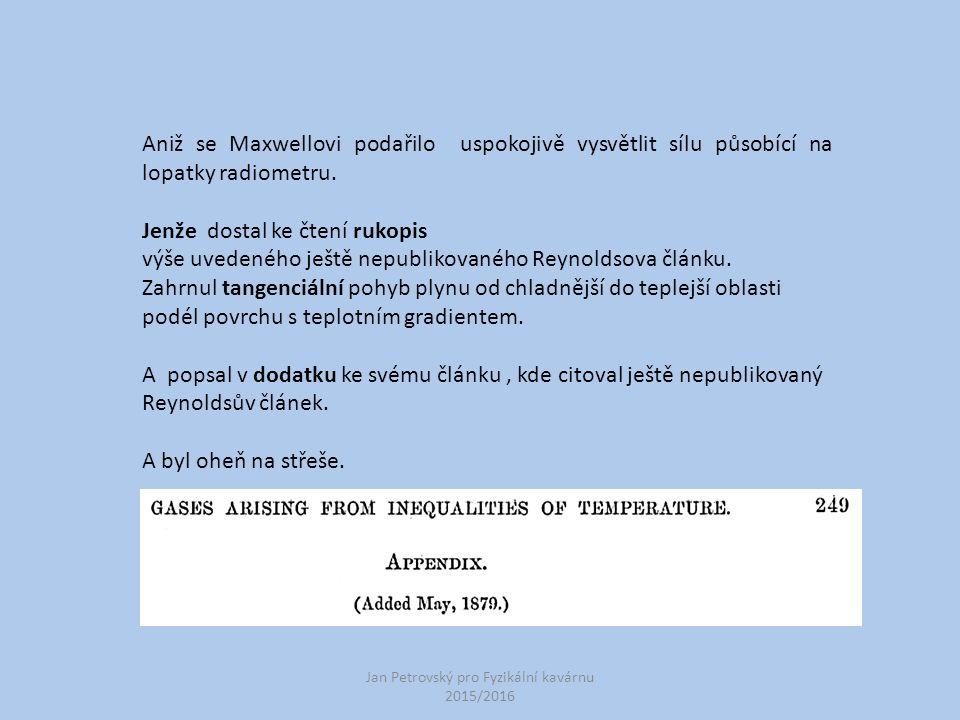 Jan Petrovský pro Fyzikální kavárnu 2015/2016 Aniž se Maxwellovi podařilo uspokojivě vysvětlit sílu působící na lopatky radiometru.