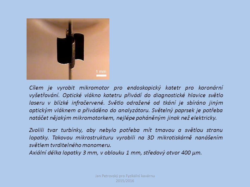 Jan Petrovský pro Fyzikální kavárnu 2015/2016 Cílem je vyrobit mikromotor pro endoskopický katetr pro koronární vyšetřování. Optické vlákno katetru př