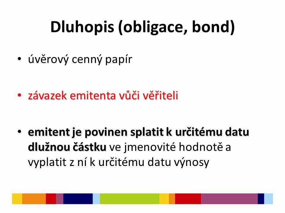Dluhopis (obligace, bond) úvěrový cenný papír závazek emitenta vůči věřiteli závazek emitenta vůči věřiteli emitent je povinen splatit k určitému datu