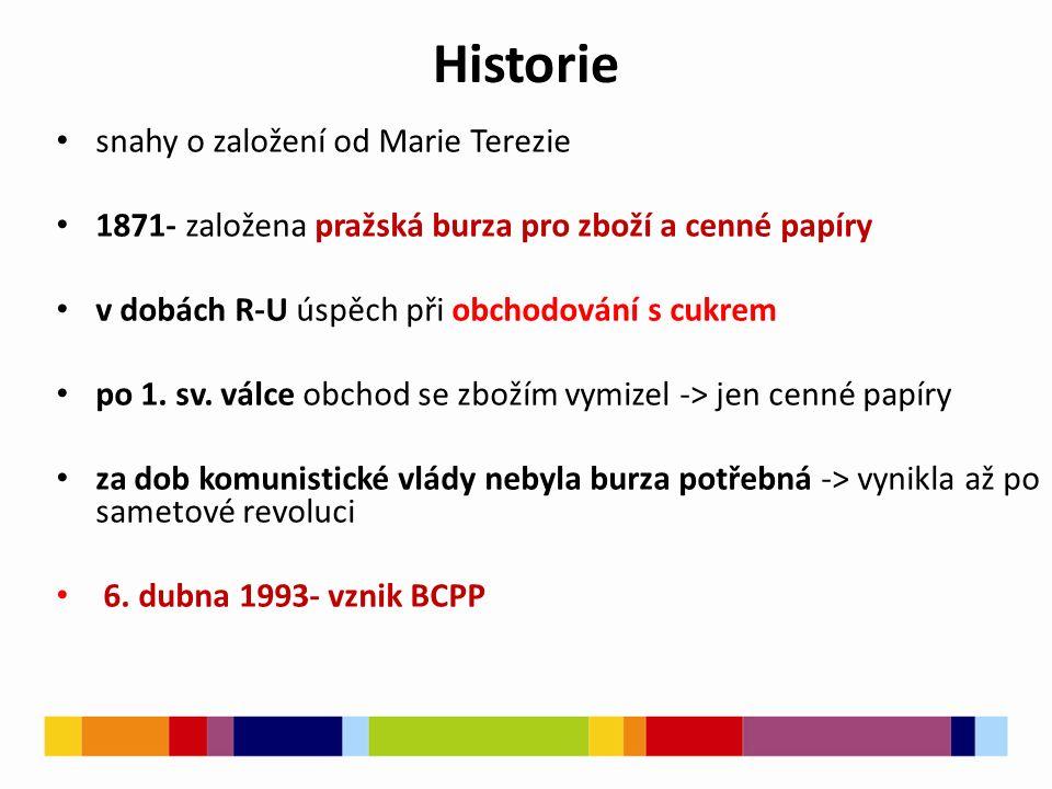 Historie snahy o založení od Marie Terezie 1871pražská burza pro zboží a cenné papíry 1871- založena pražská burza pro zboží a cenné papíry v dobách R