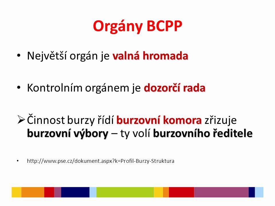Orgány BCPP valná hromada Největší orgán je valná hromada dozorčí rada Kontrolním orgánem je dozorčí rada burzovní komora burzovní výboryburzovního ře