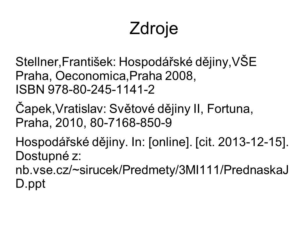 Zdroje Stellner,František: Hospodářské dějiny,VŠE Praha, Oeconomica,Praha 2008, ISBN 978-80-245-1141-2 Čapek,Vratislav: Světové dějiny II, Fortuna, Praha, 2010, 80-7168-850-9 Hospodářské dějiny.