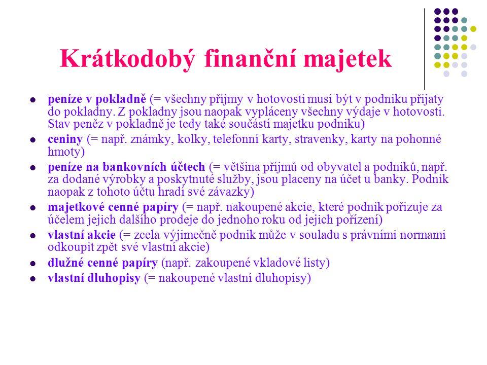 Krátkodobý finanční majetek peníze v pokladně (= všechny příjmy v hotovosti musí být v podniku přijaty do pokladny.
