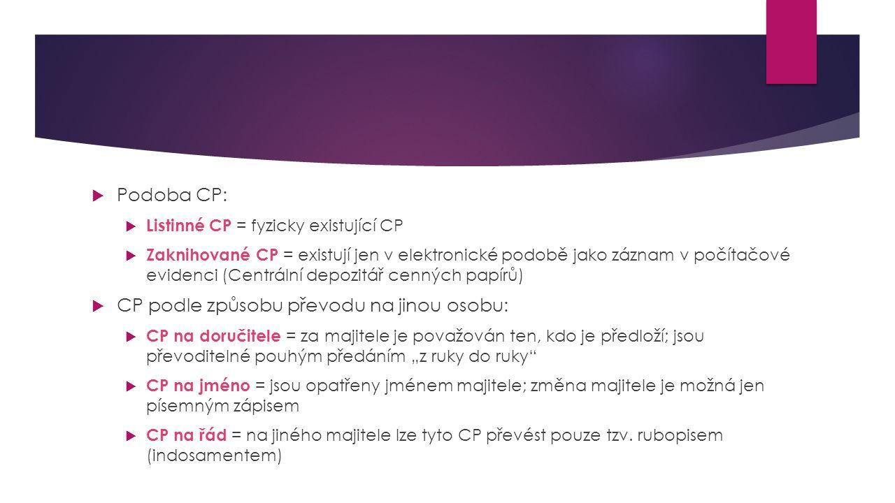""" Podoba CP:  Listinné CP = fyzicky existující CP  Zaknihované CP = existují jen v elektronické podobě jako záznam v počítačové evidenci (Centrální depozitář cenných papírů)  CP podle způsobu převodu na jinou osobu:  CP na doručitele = za majitele je považován ten, kdo je předloží; jsou převoditelné pouhým předáním """"z ruky do ruky  CP na jméno = jsou opatřeny jménem majitele; změna majitele je možná jen písemným zápisem  CP na řád = na jiného majitele lze tyto CP převést pouze tzv."""