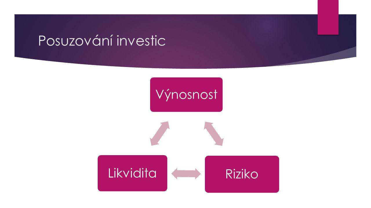  Výnosnost = množství peněz vyjádřené v procentech, které investor obdrží v poměru k investované částce  Likvidita = schopnost investice změnit se zpět na hotovost  Čím snadněji je možné investované finanční prostředky přeměnit zpátky na hotovost, tím likvidnější investice je  Čím delší je doba, po kterou je investice prováděna, tím menší je likvidita Výnosnost a likvidita jsou proti sobě – výnosnější jsou investice méně likvidní