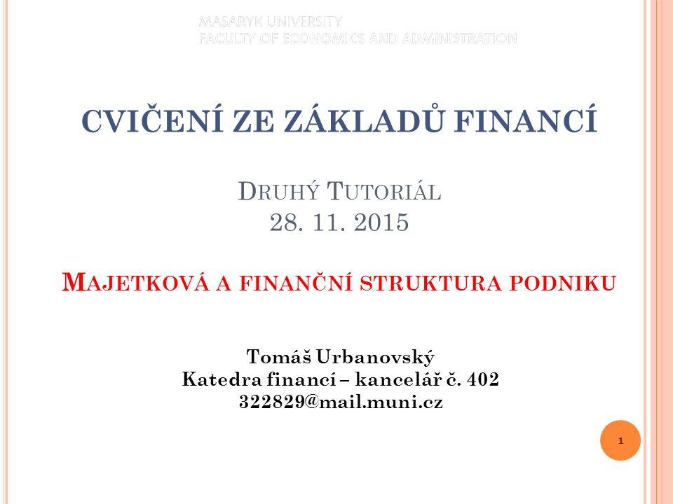 1 Tomáš Urbanovský Katedra financí – kancelář č.