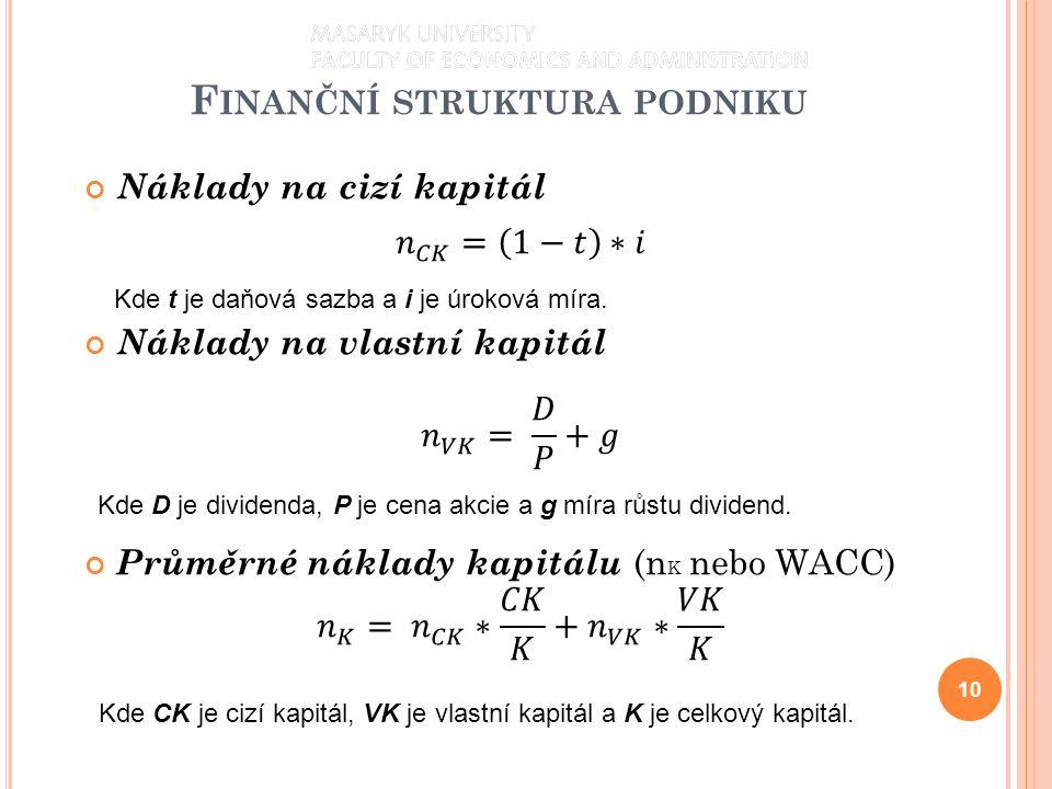 F INANČNÍ STRUKTURA PODNIKU 10 Kde t je daňová sazba a i je úroková míra. Kde D je dividenda, P je cena akcie a g míra růstu dividend. Kde CK je cizí