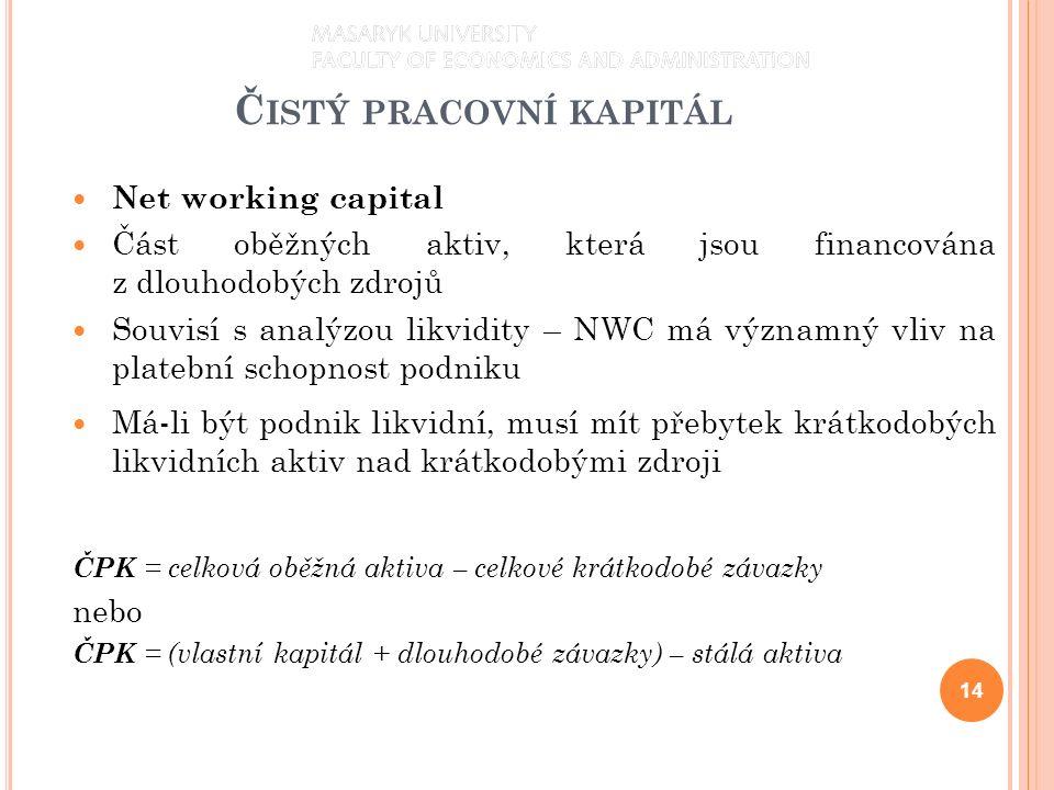 Č ISTÝ PRACOVNÍ KAPITÁL Net working capital Část oběžných aktiv, která jsou financována z dlouhodobých zdrojů Souvisí s analýzou likvidity – NWC má významný vliv na platební schopnost podniku Má-li být podnik likvidní, musí mít přebytek krátkodobých likvidních aktiv nad krátkodobými zdroji ČPK = celková oběžná aktiva – celkové krátkodobé závazky nebo ČPK = (vlastní kapitál + dlouhodobé závazky) – stálá aktiva 14