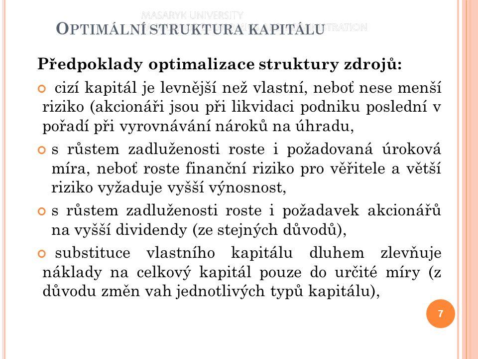 O PTIMÁLNÍ STRUKTURA KAPITÁLU Předpoklady optimalizace struktury zdrojů: cizí kapitál je levnější než vlastní, neboť nese menší riziko (akcionáři jsou