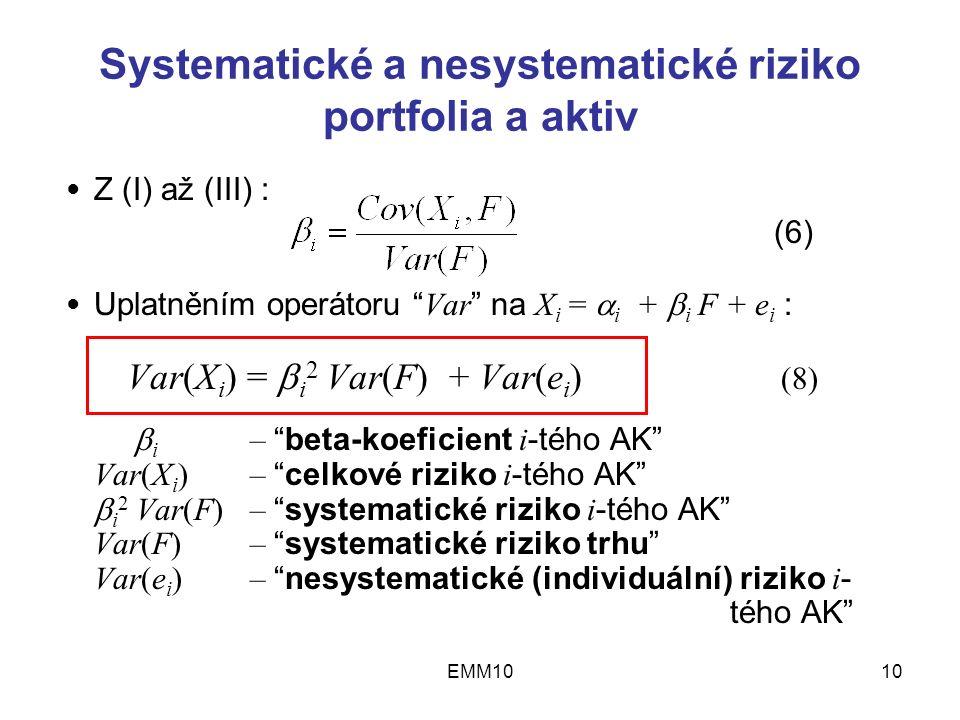 EMM1010 Systematické a nesystematické riziko portfolia a aktiv Z (I) až (III) : (6) Uplatněním operátoru Var na X i =  i +  i F + e i : Var(X i ) =  i 2 Var(F) + Var(e i ) (8)  i – beta-koeficient i -tého AK Var(X i ) – celkové riziko i -tého AK  i 2 Var(F) – systematické riziko i -tého AK Var(F) – systematické riziko trhu Var(e i ) – nesystematické (individuální) riziko i - tého AK ● ●