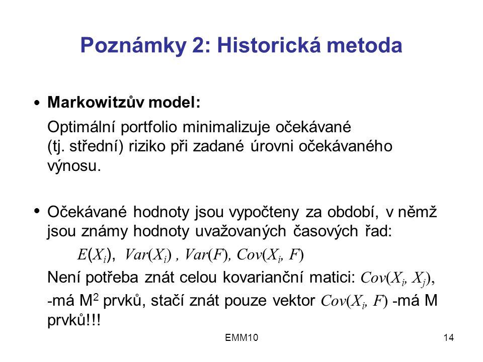 EMM1014 Poznámky 2: Historická metoda Markowitzův model: Optimální portfolio minimalizuje očekávané (tj.