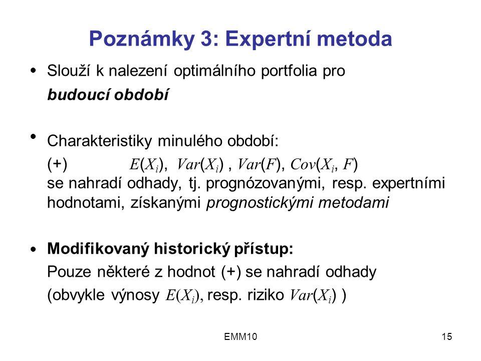 EMM1015 Poznámky 3: Expertní metoda Slouží k nalezení optimálního portfolia pro budoucí období Charakteristiky minulého období: (+) E ( X i ), Var ( X i ), Var ( F ), Cov ( X i, F ) se nahradí odhady, tj.