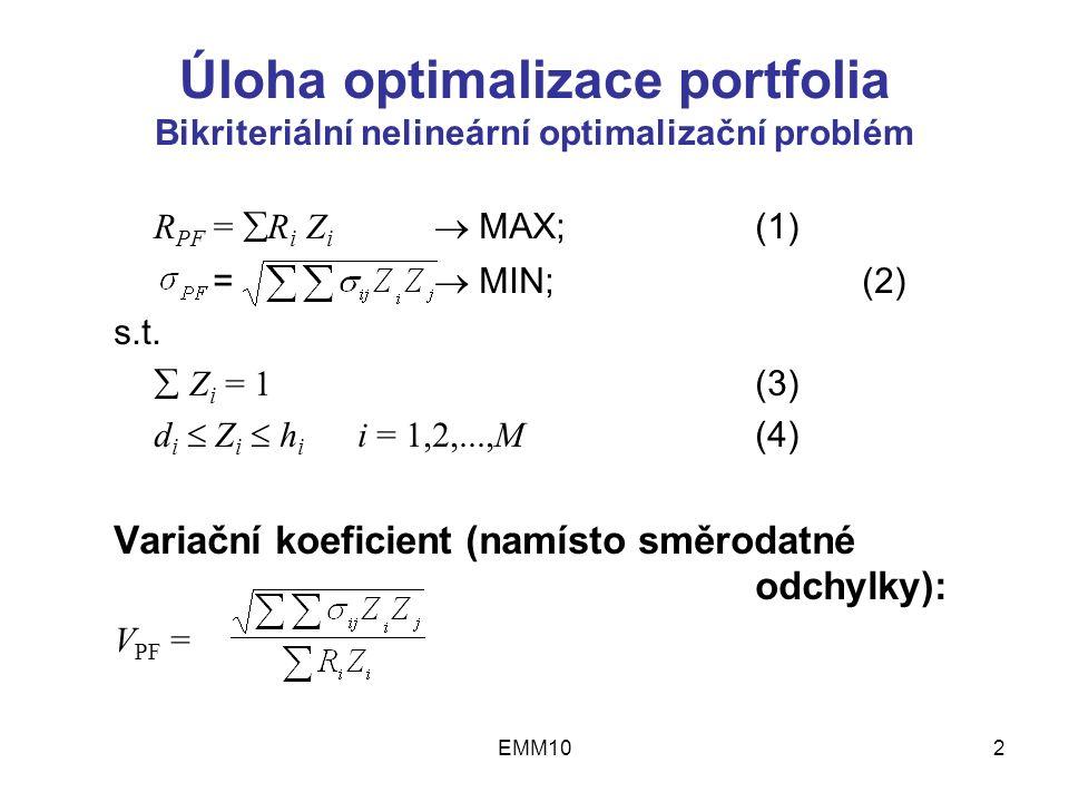 EMM102 Úloha optimalizace portfolia Bikriteriální nelineární optimalizační problém R PF =  R i Z i  MAX;(1) =  MIN;(2) s.t.