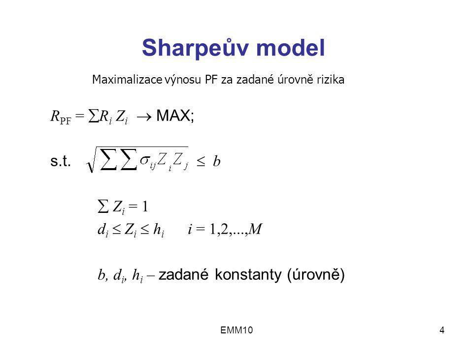 EMM104 Sharpeův model R PF =  R i Z i  MAX; s.t.