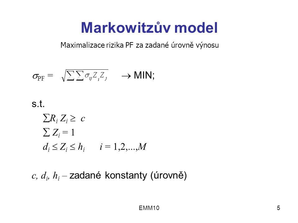 EMM105 Markowitzův model  PF =  MIN; s.t.