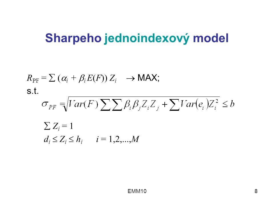 EMM108 Sharpeho jednoindexový model R PF =  (  i +  i E(F)) Z i  MAX; s.t.