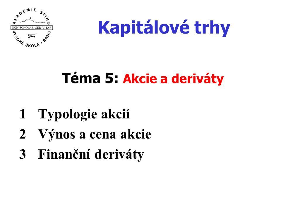 Kapitálové trhy Téma 5: Akcie a deriváty 1Typologie akcií 2Výnos a cena akcie 3Finanční deriváty