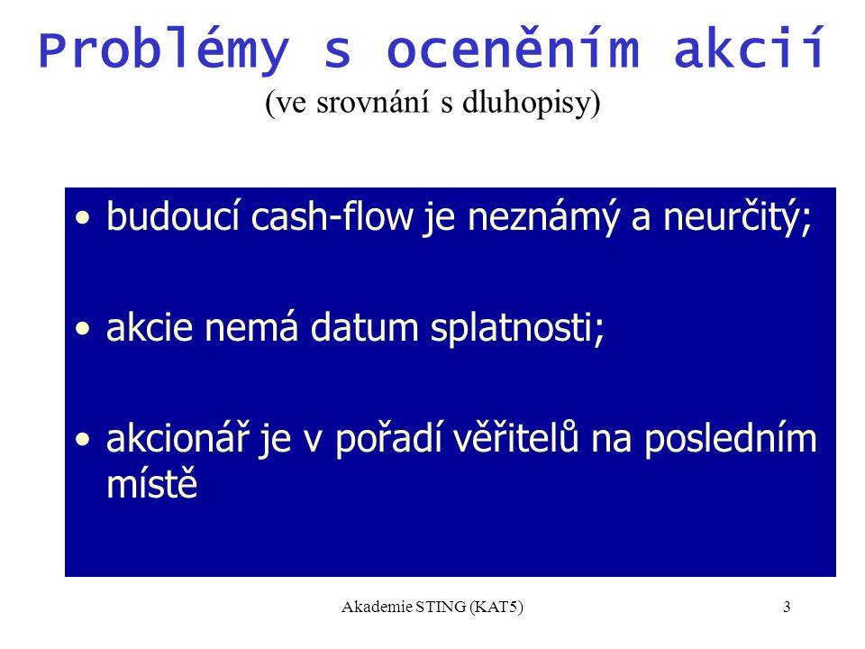 Akademie STING (KAT5)3 Problémy s oceněním akcií (ve srovnání s dluhopisy) budoucí cash-flow je neznámý a neurčitý; akcie nemá datum splatnosti; akcionář je v pořadí věřitelů na posledním místě