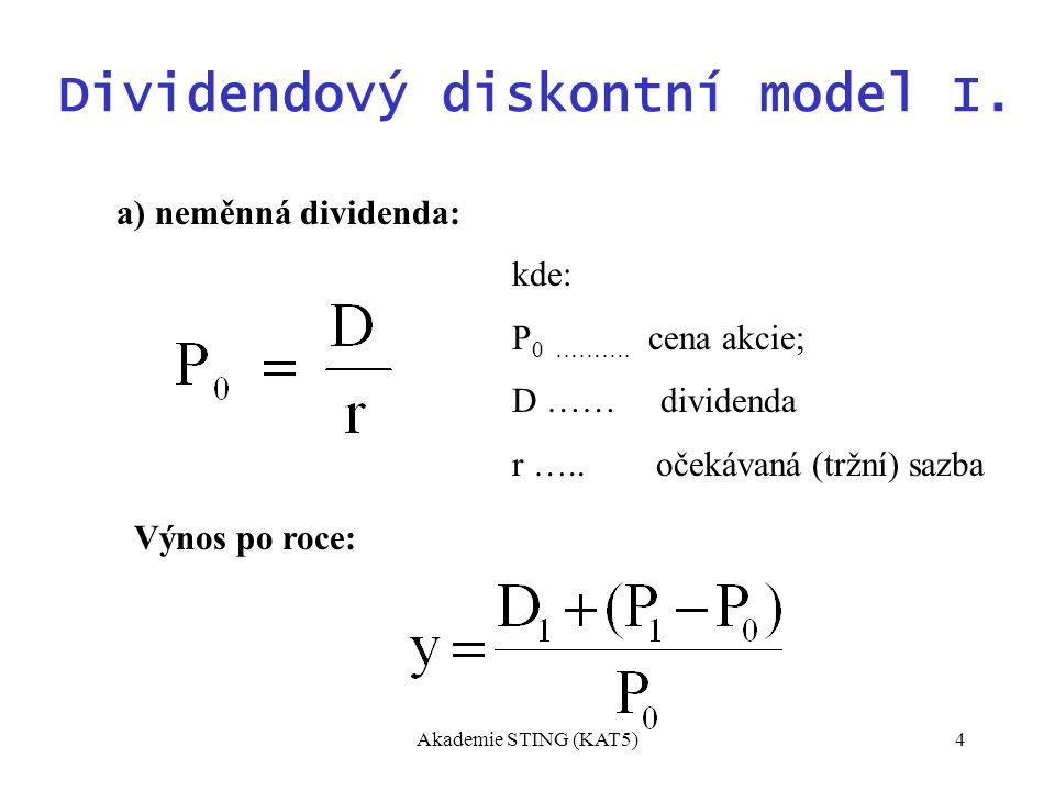 Akademie STING (KAT5)4 Dividendový diskontní model I.