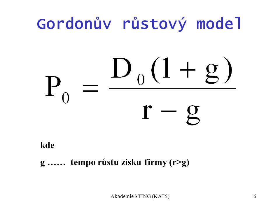 Akademie STING (KAT5)6 Gordonův růstový model kde g …… tempo růstu zisku firmy (r>g)