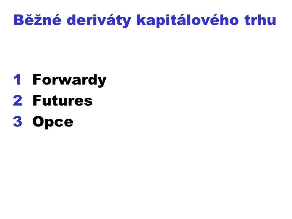 Běžné deriváty kapitálového trhu 1Forwardy 2Futures 3Opce