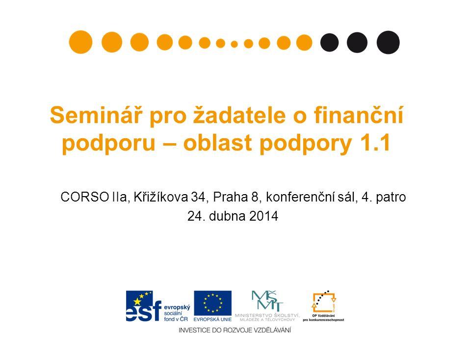 Seminář pro žadatele o finanční podporu – oblast podpory 1.1 CORSO IIa, Křižíkova 34, Praha 8, konferenční sál, 4.