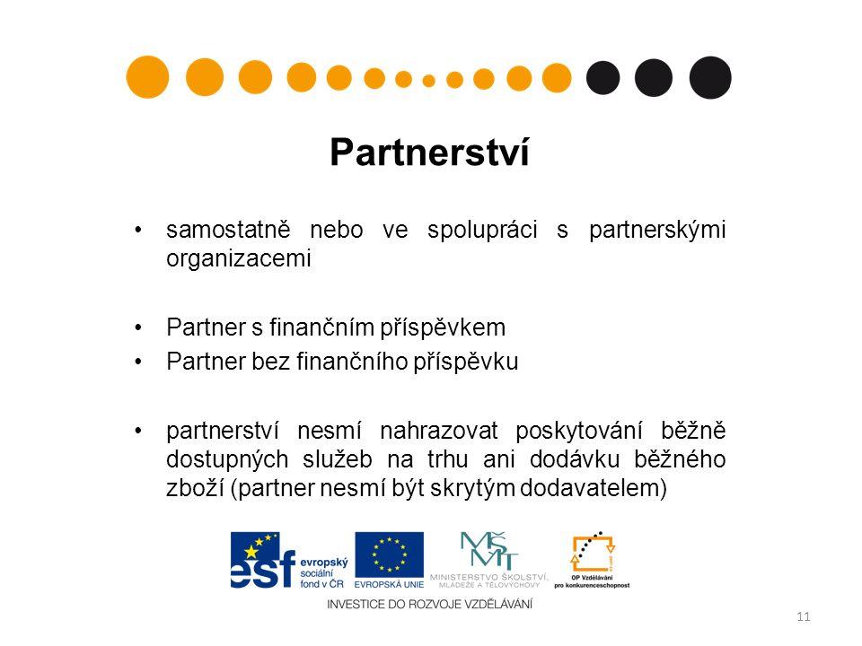 Partnerství samostatně nebo ve spolupráci s partnerskými organizacemi Partner s finančním příspěvkem Partner bez finančního příspěvku partnerství nesmí nahrazovat poskytování běžně dostupných služeb na trhu ani dodávku běžného zboží (partner nesmí být skrytým dodavatelem) 11