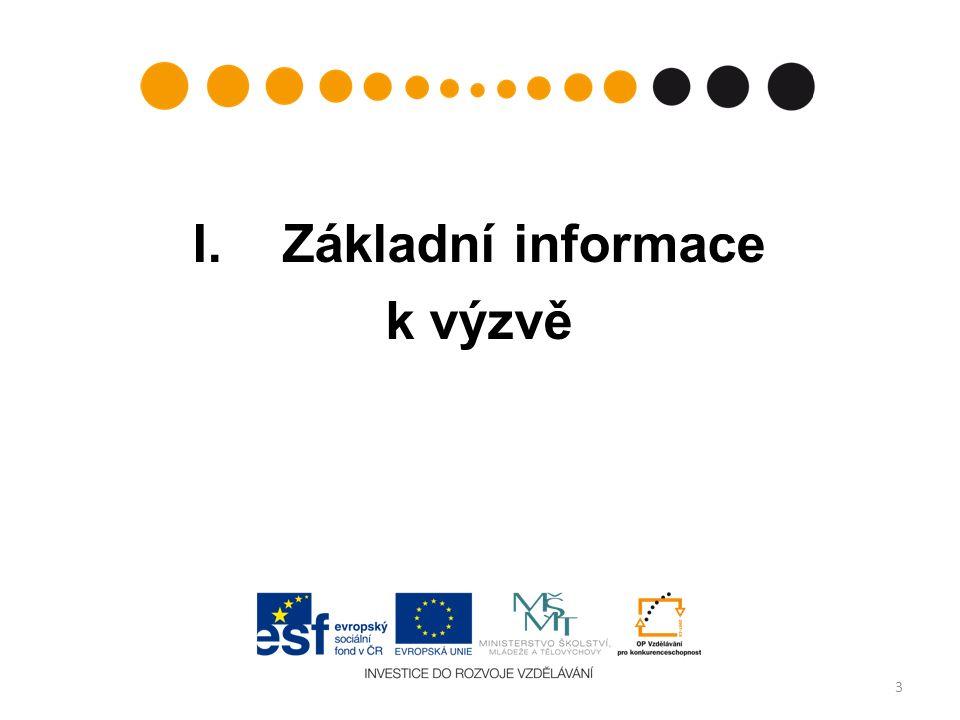 Výzva, termíny výzvy, doba trvání číslo výzvy v informačním systému: 55 (Prioritní osa: 1 – Počáteční vzdělávání, Oblast podpory 1.1 – Zvyšování kvality ve vzdělávání) datum vyhlášení výzvy:4.