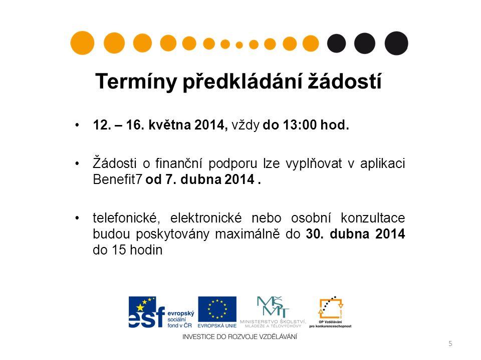 12. – 16. května 2014, vždy do 13:00 hod.