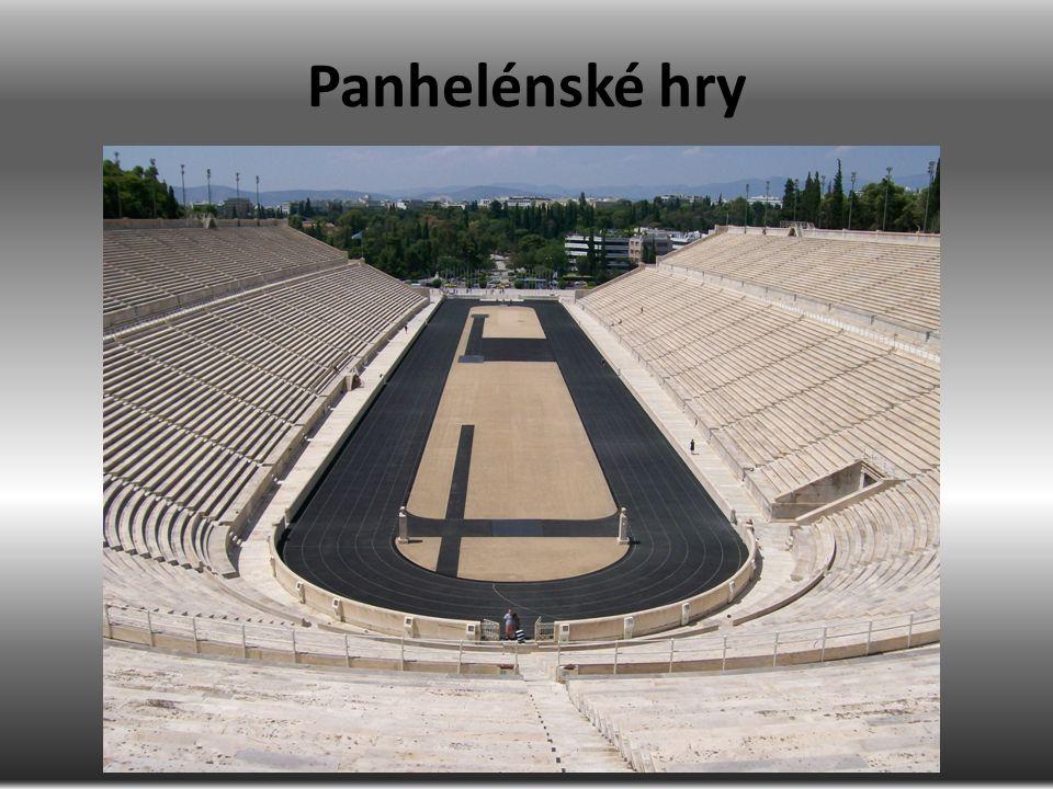 všeřecké hry hlavní pentetérické (penta eté = pět let) Nemea Korint Delfy Olympie menší hry Athény Théby, Plataje, Sparta, …
