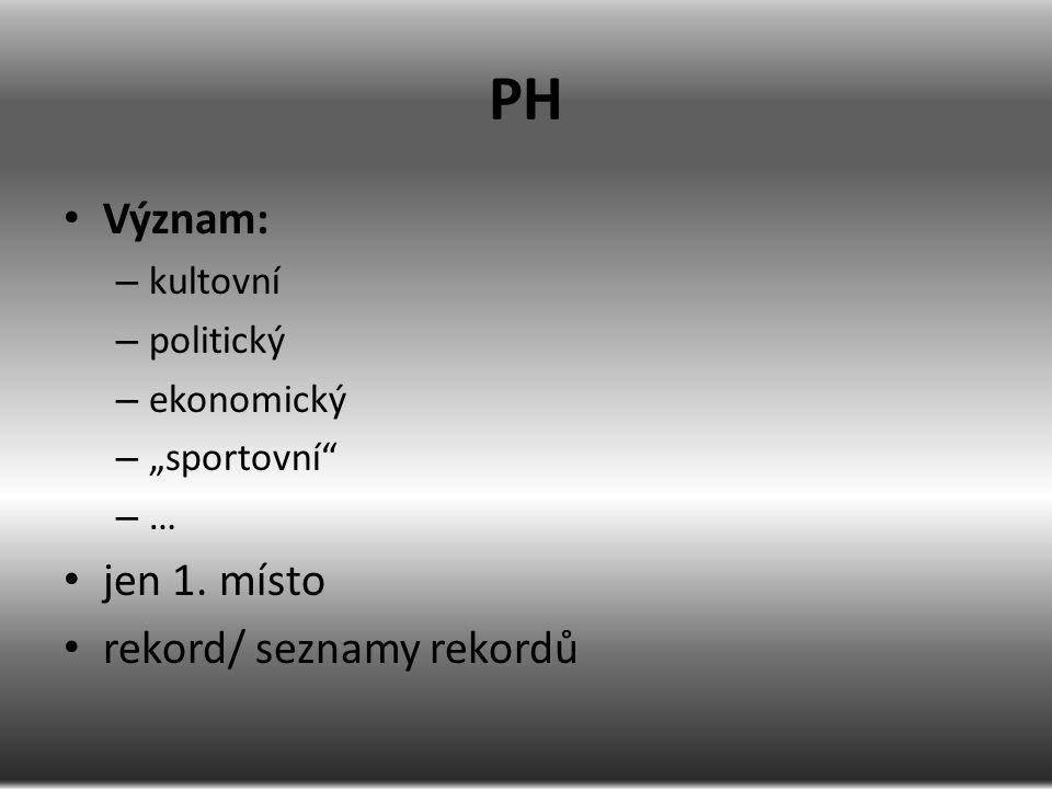 """PH Význam: – kultovní – politický – ekonomický – """"sportovní"""" – … jen 1. místo rekord/ seznamy rekordů"""