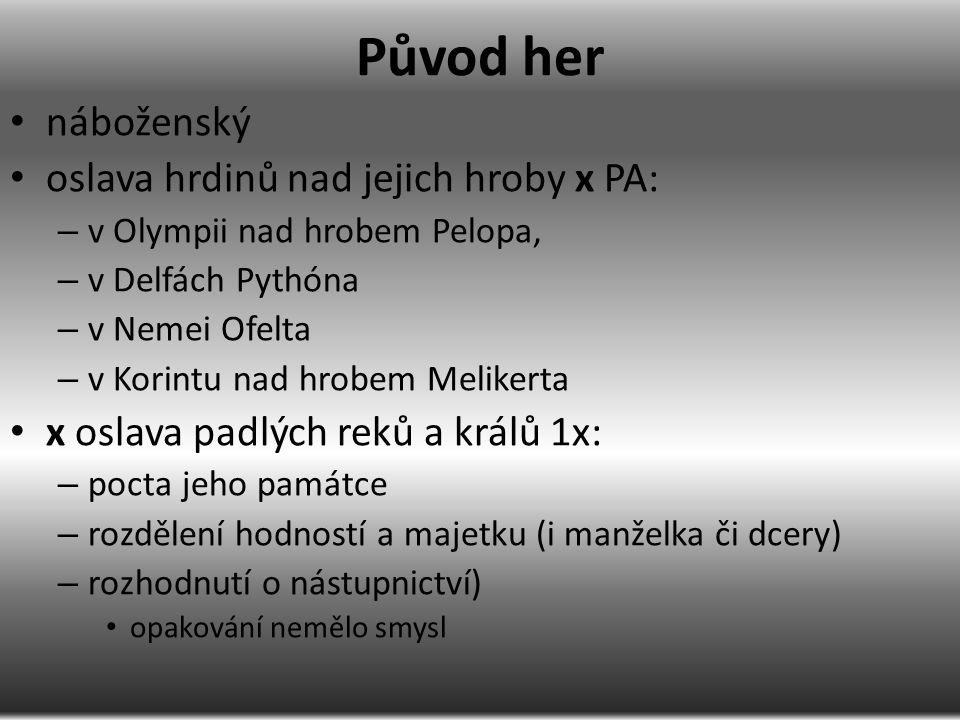 založení her hrdina Pelops – Oinomaus, Hippodameia ídský Daktyl Hérakles – a jeho čtyři mladší bratři (Hérakles, Paiónaios, Epimédés, Iasios a Idás) – cesta do Olympie – poctu Diovi ἀγών v běhu, skoku do dálky hodu diskem, hodu oštěpem a zápasem – pojmenování Olympie – Hérakles stanovil, aby se závod konal vždy po pěti letech podle počtu sourozenců rek Héraklés – zasazení posvátného stromu, z něhož se dělal věnec vítězům – oslava vítězství nad élidským králem Augiášem či po návratu Argonautů z Kolchidy Zeus – oslavu vítězství nad Titánem Kronem přímo na místě vítězství králové Néleus z Pylu (otec starého válečníka od Tróje Nestora), Pelios z Iólku (nepřítel hrdiny Iásóna) a Písa (zakladatel města Písy) Oxylos – potomek Héraklův, praděd Ífita, vůdce Dórů a vládce Élidy Ifítos, Kleosthenés a Lýkurgos Klymenos, Epeios, …