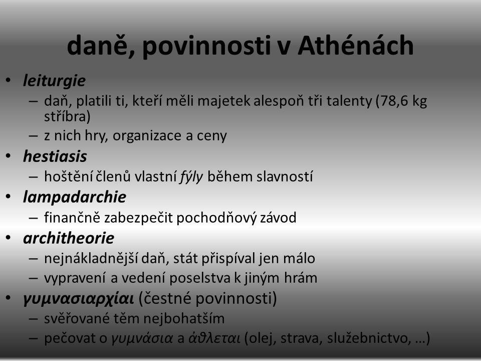 daně, povinnosti v Athénách leiturgie – daň, platili ti, kteří měli majetek alespoň tři talenty (78,6 kg stříbra) – z nich hry, organizace a ceny hest