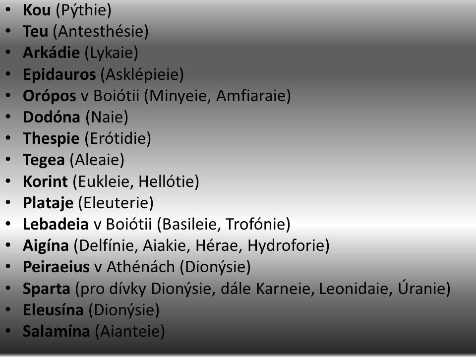 Kou (Pýthie) Teu (Antesthésie) Arkádie (Lykaie) Epidauros (Asklépieie) Orópos v Boiótii (Minyeie, Amfiaraie) Dodóna (Naie) Thespie (Erótidie) Tegea (Aleaie) Korint (Eukleie, Hellótie) Plataje (Eleuterie) Lebadeia v Boiótii (Basileie, Trofónie) Aigína (Delfínie, Aiakie, Hérae, Hydroforie) Peiraeius v Athénách (Dionýsie) Sparta (pro dívky Dionýsie, dále Karneie, Leonidaie, Úranie) Eleusína (Dionýsie) Salamína (Aianteie)