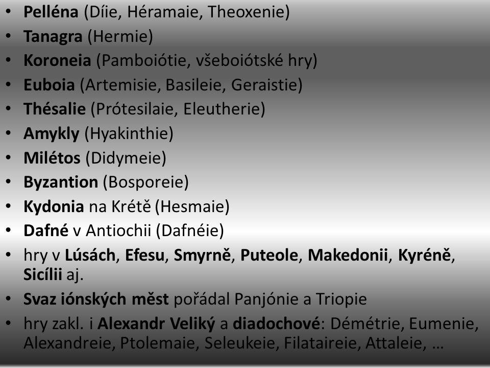 Pelléna (Díie, Héramaie, Theoxenie) Tanagra (Hermie) Koroneia (Pamboiótie, všeboiótské hry) Euboia (Artemisie, Basileie, Geraistie) Thésalie (Prótesilaie, Eleutherie) Amykly (Hyakinthie) Milétos (Didymeie) Byzantion (Bosporeie) Kydonia na Krétě (Hesmaie) Dafné v Antiochii (Dafnéie) hry v Lúsách, Efesu, Smyrně, Puteole, Makedonii, Kyréně, Sicílii aj.