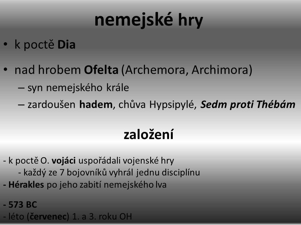 Disciplíny zpěv na Apollóna za doprovodu kithary (Kréťan Chrýsothemis) zpěv za doprovodu píšťaly hra na píšťalu hra na kitharu (558 BC) gymnický a hippický agón: – dromos, diaulos, ὁπλείτης (498 BC), παγκράτιον dorostenců (346 BC) – tetrippon (398 BC), dostihy, závod vozů tažených hříbaty (378 BC), dvojspřeží hříbat a závod hříbat
